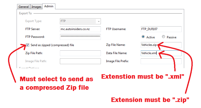 Motorcentral DMS FTP Connection Settings