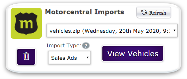 Motorcentral Manage Imports
